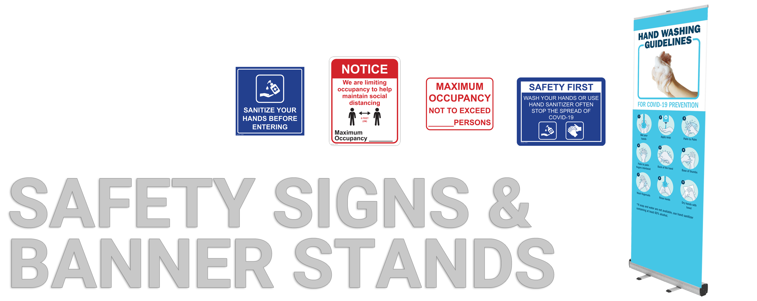 Safety Signs Banner Stands